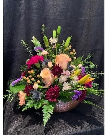 Pot of Rose Gold Flower Arrangement
