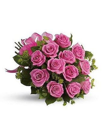 1 Dz Wrapped Pink Roses Flower Arrangement