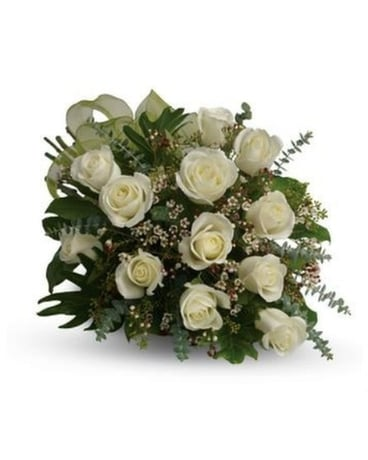 1 Dz Wrapped White Roses Flower Arrangement