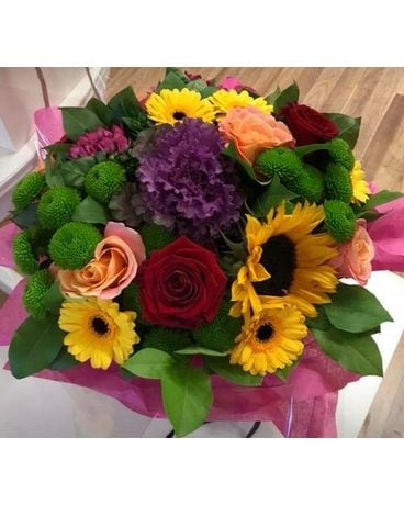 Sunflowers and Sunset Flower Arrangement