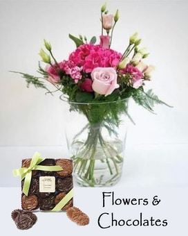 Hydrangea Flowers and Chocolates Flower Arrangement