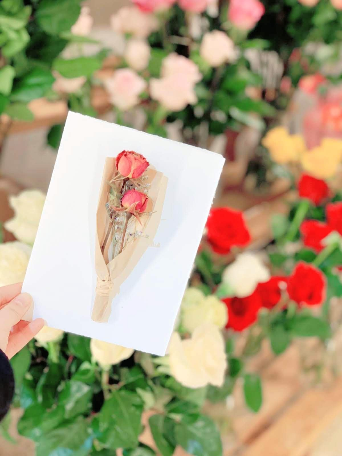 Handmade dry flower card