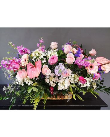 Grand Floral Garden Basket Flower Arrangement