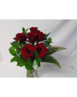 Six Red Roses No vase Flower Arrangement