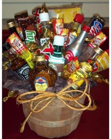 Liquor Gift Basket Flower Arrangement