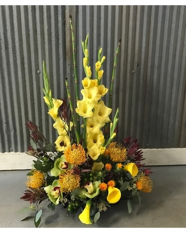 Coastal Yellow Tropical Flower Arrangement
