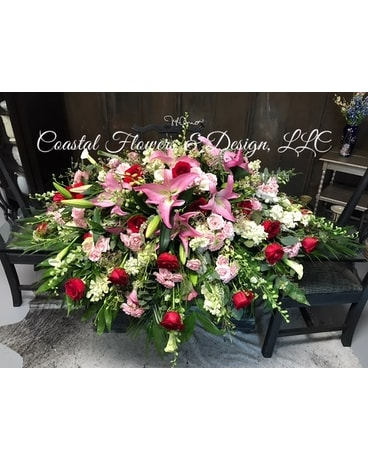 Pink red coastal blanket in gulf shores al coastal flowers pink red coastal blanket funeral arrangement mightylinksfo Images
