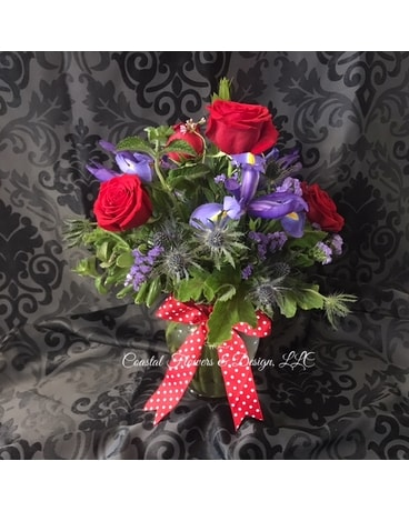 Coastal Iris & Roses Flower Arrangement