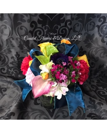 Coastal Ribbon Cube Flower Arrangement