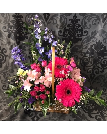 Coastal Basket Blooms Flower Arrangement