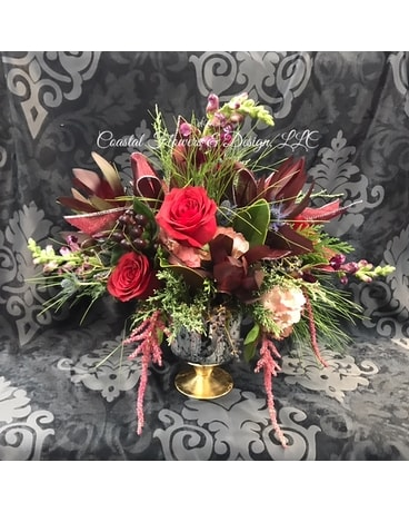 Coastal Burgundy and Blue Flower Arrangement