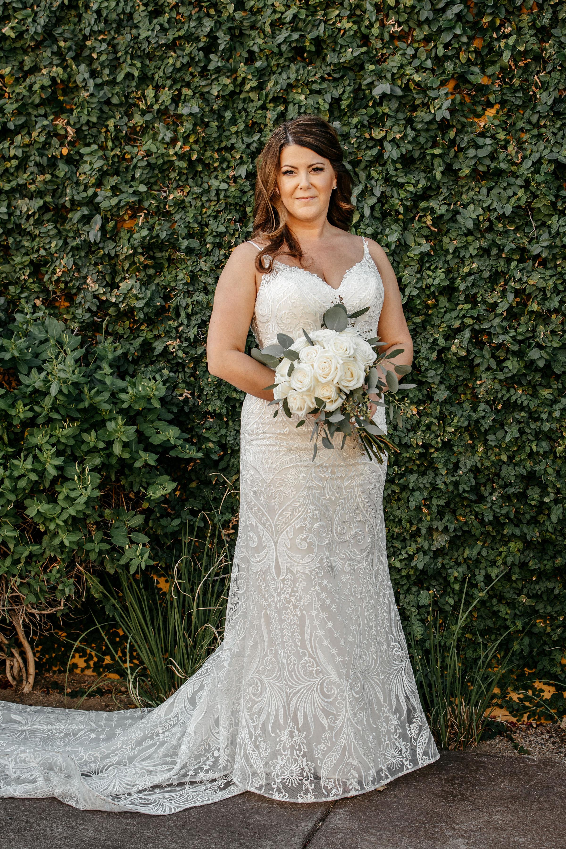 bride portrait with bouquet