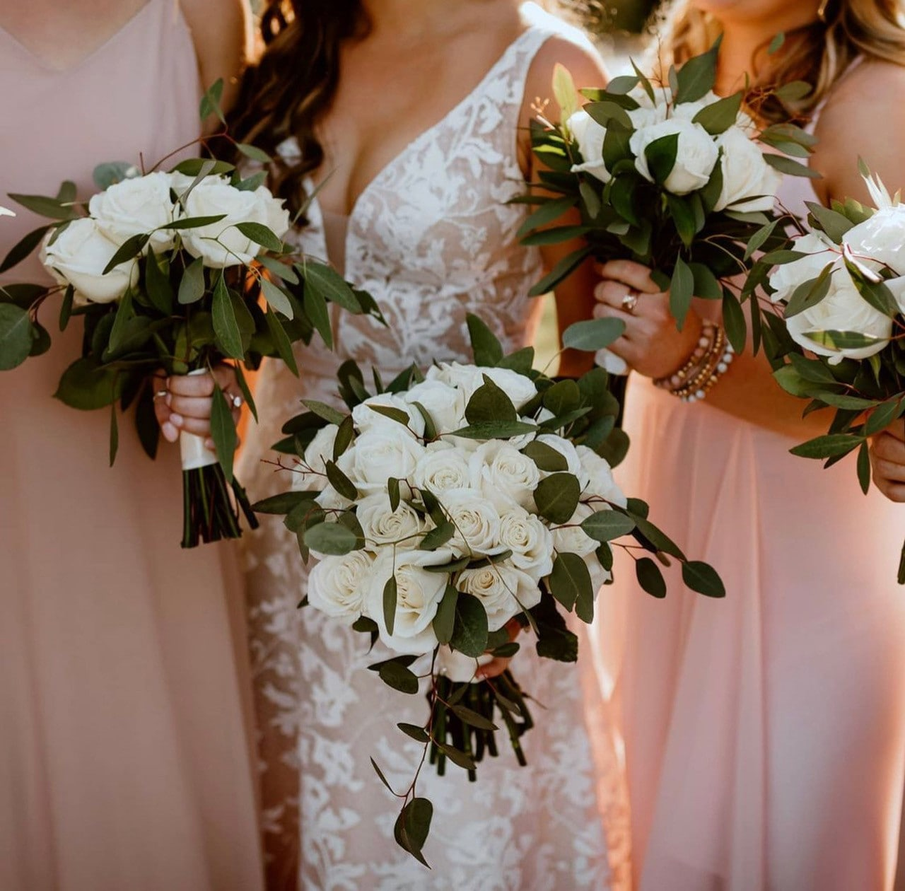 Close up of white bouquets