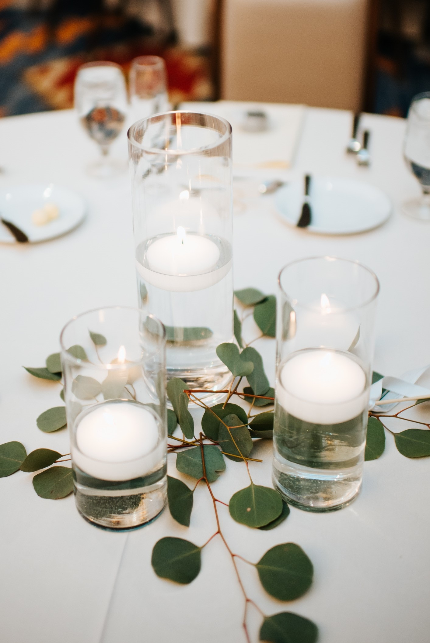 Candles and leaves as centerpiece