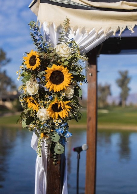 Sunflowers on outdoor canopy