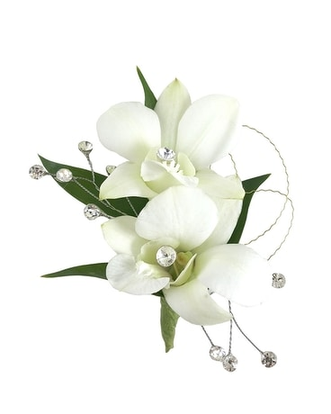 White Orchids with Crystals Flower Arrangement