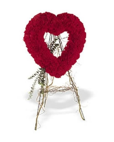 Red Carnation Heart Wreath Flower Arrangement