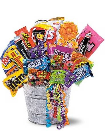 Junk Food Bucket Basket Arrangement
