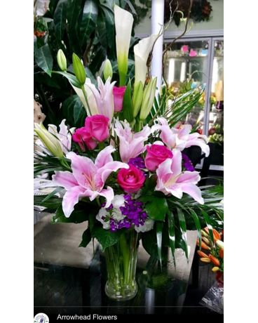Pink Lilies and Hot Pink Lady Roses Flower Arrangement