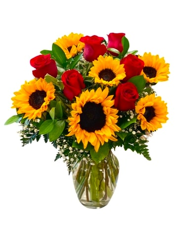 Roses and Sun Flowers by Arrowhead Flower Arrangement