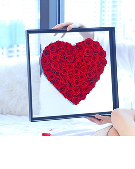 Preserved Roses Heart Shape  In Acrylic Box Gifts