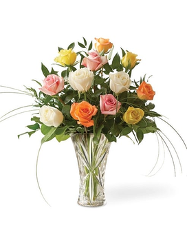 Long Stem One Dozen Mixed Roses in Crystal Vase Flower Arrangement