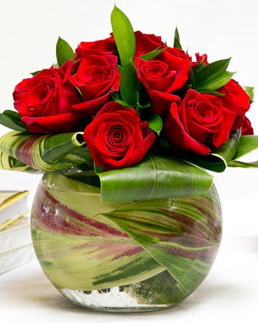 Red Rose Pave Flower Arrangement