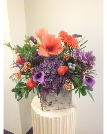 Everyday Arrangement in Birch Cube Flower Arrangement