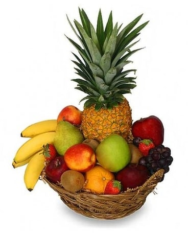 Premium Fruit Basket Flower Arrangement