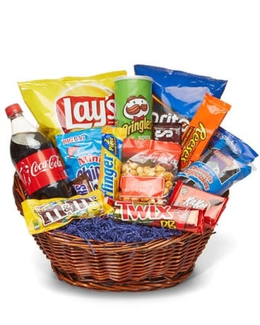 Flowers & More Snack Basket Basket Arrangement
