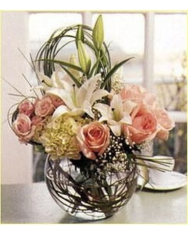 Elegant Bubble Bowl Bouquet Flower Arrangement
