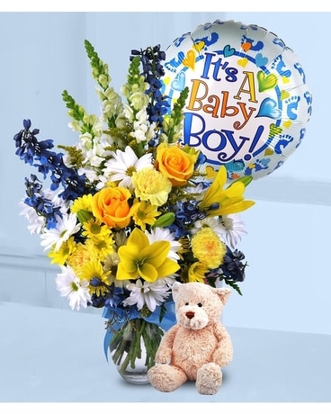 Baby Boy Surprise Flower Arrangement
