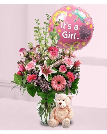 Baby Girl Surprise Flower Arrangement