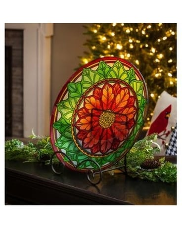 Poinsettia Mosaic Bird Bath Gifts