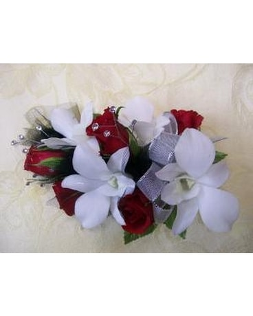 Red Roses & White Orchids Wrist Corsage Corsage