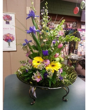 Bird Bath Arrangement Flower Arrangement
