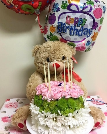 Happy Birthday Cake With Balloons And Bear Flower Arrangement