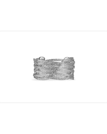 Silver Etched Woven Wire Cuff Bracelet Flower Arrangement
