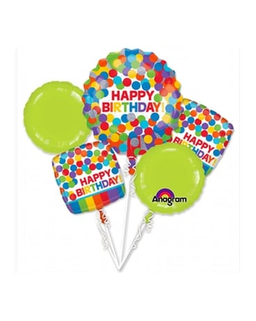 Primary Rainbow Birthday Balloon Bouquet Flower Arrangement
