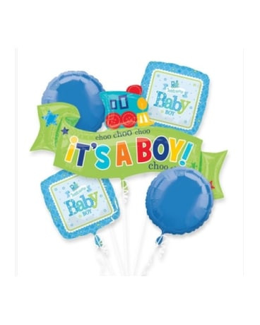 Welcome Little Boy Mylar Balloon Bouquet Flower Arrangement