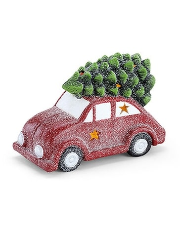 Light-Up Car Carrying Christmas Tree Gifts