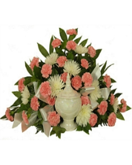 Timeless Cremation Setting Pink Flower Arrangement
