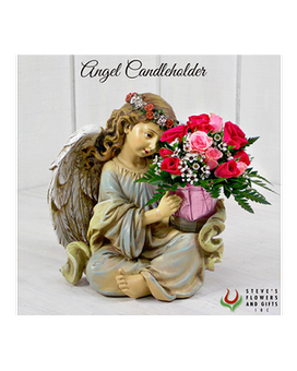 Angel Candle Holder Flower Arrangement