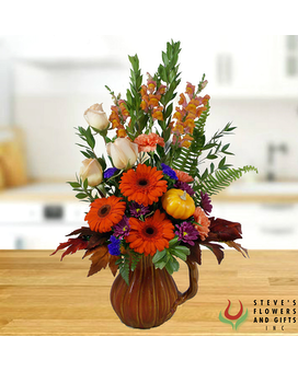 Pumpkin Spice Pitcher Flower Arrangement