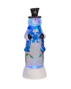 Snowman Blue Motorized Light-Up Snow Globe Gifts