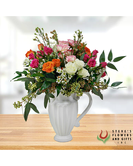 Garden Rose Pitcher Flower Arrangement
