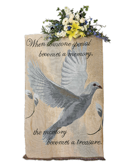 Faith Dove Tapestry Throw Standing Spray