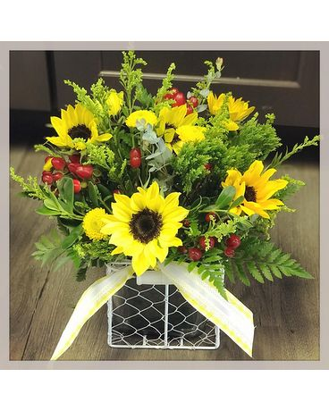 Sunflower Square Flower Arrangement