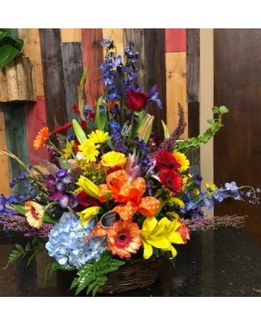 Legacy's Bold Basket Mix Flower Arrangement