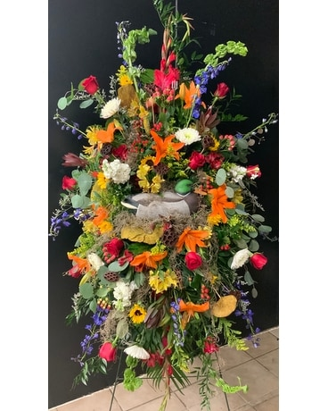 Legacy's Duck Pond standing spray Flower Arrangement
